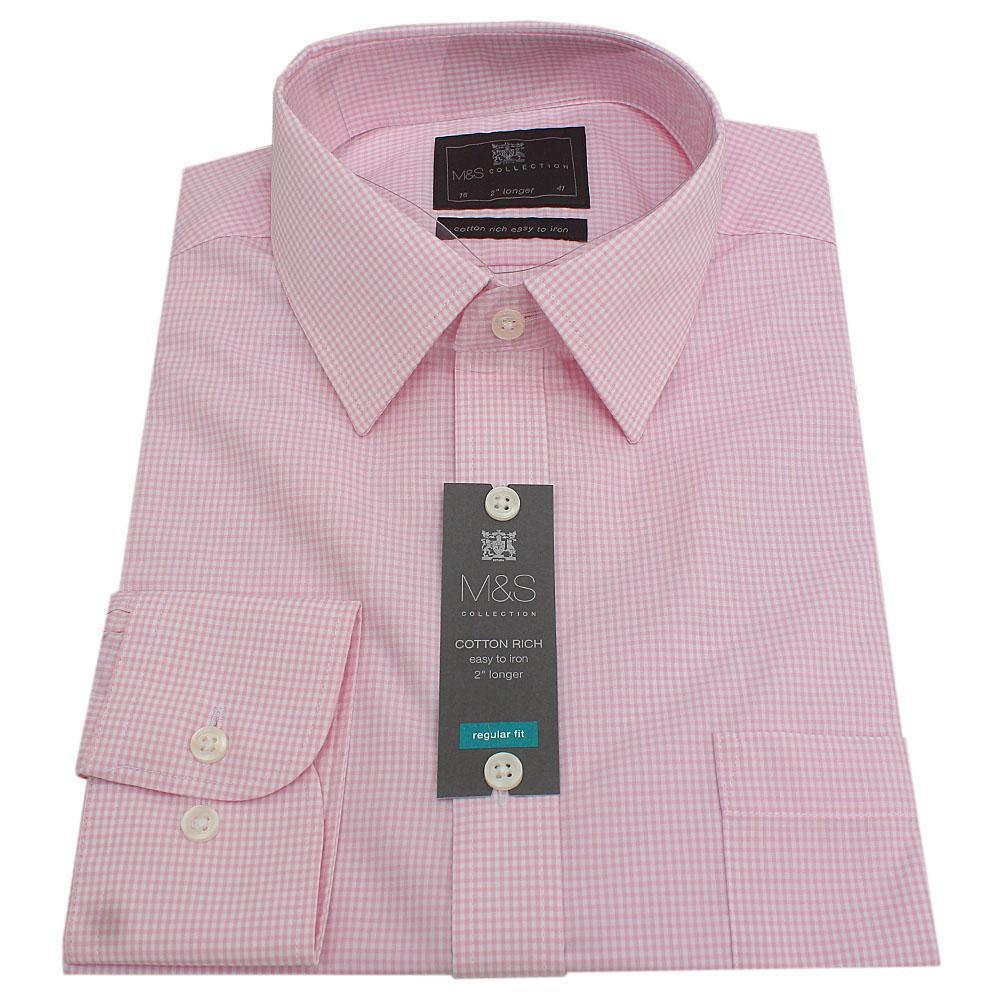 M&S Pink Check L/Sleeve Regular Fit 2'' Longer Men Shirt Sz 14.