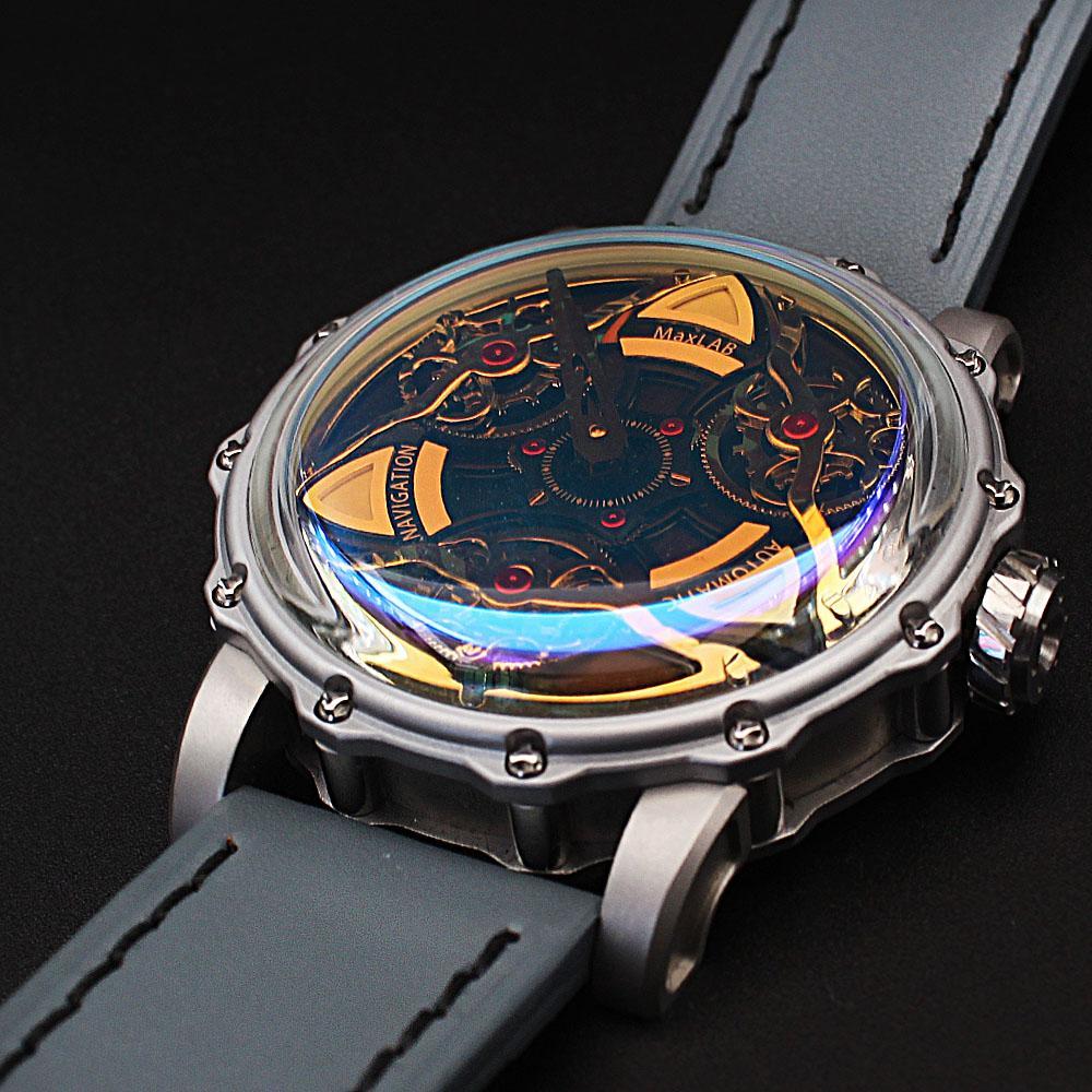 MaxLab Navigation Gray Leather Strap Automatic Watch