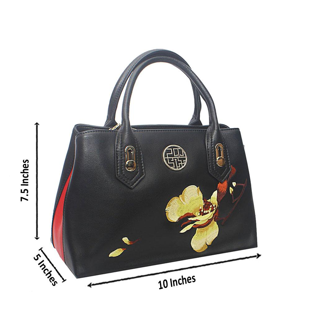 PMSix Black Red Floral Weave Cow-Leather Handbag