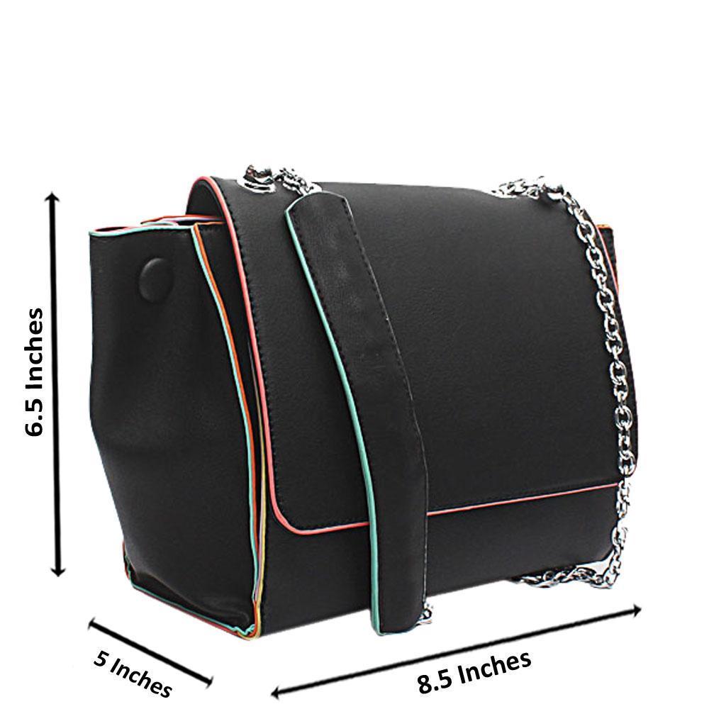 London  Style Black Leather Shoulder Handbag