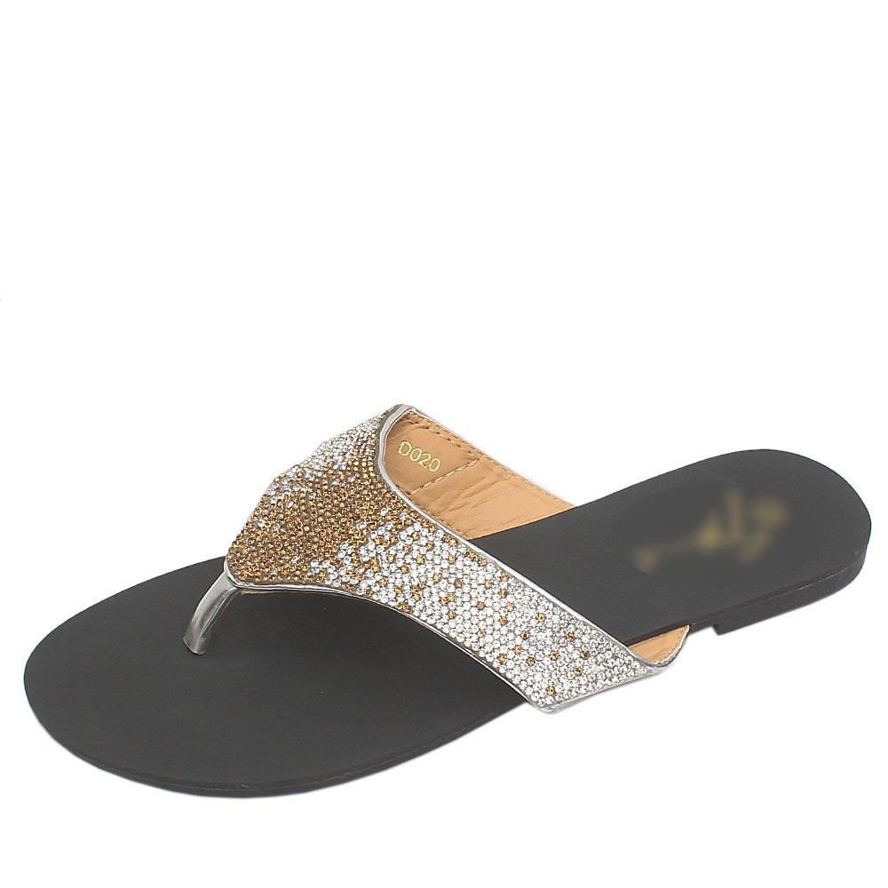 Gius Silver Studded Premium Leather Flat Slippers
