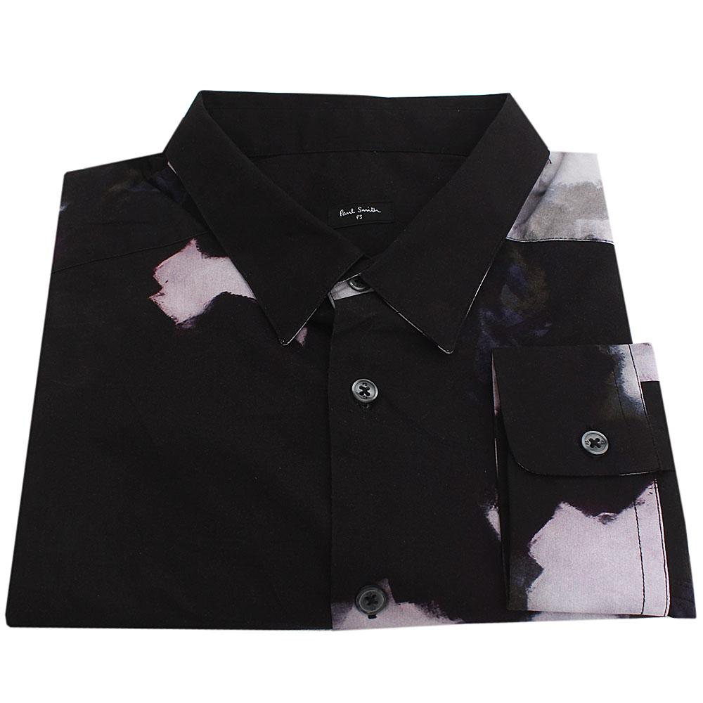 Paul Smith Black Mix Tailored Fit L/Sleeve Men Casual Shirt