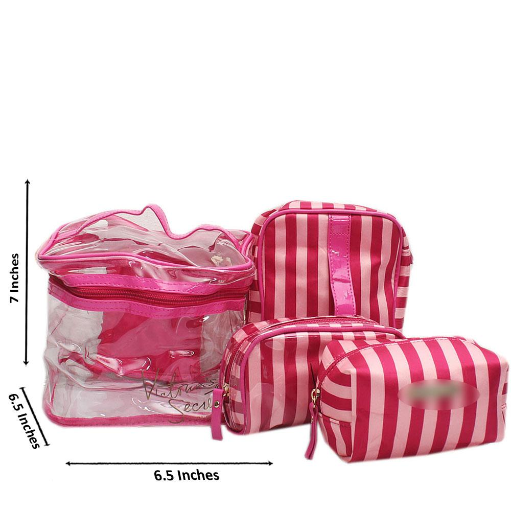 VS Pink Stripe Rubber Fabric Makeup Bag