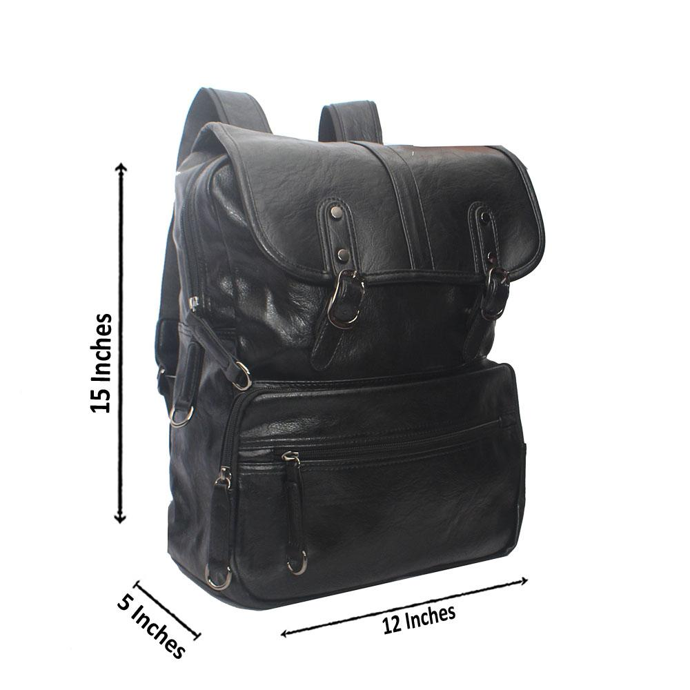 Casania Black Double Clip Leather Backpack