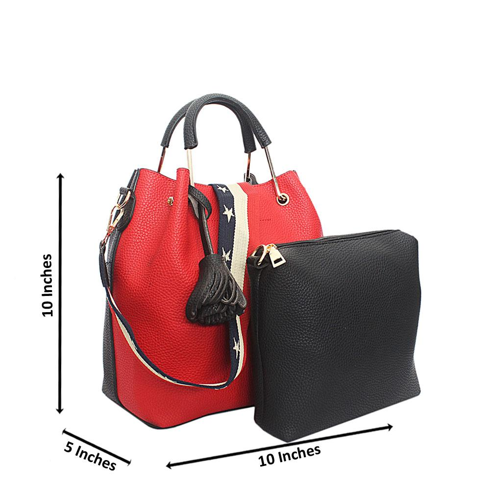 Red Black Leather Small Handbag