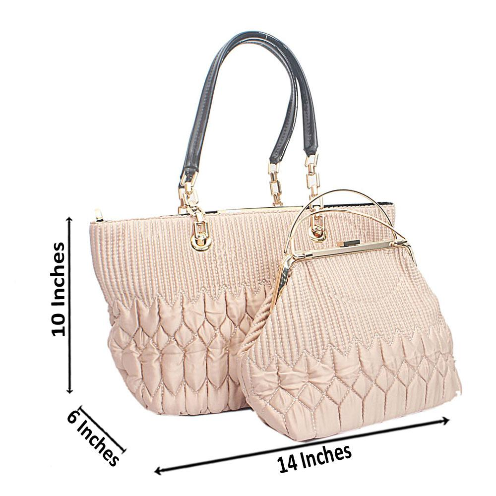 Susen Cream  Pattern Etched Bag Wt Purse