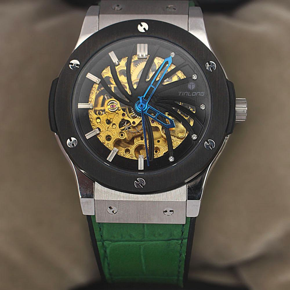 Green Rubber Leather Automatic Watch
