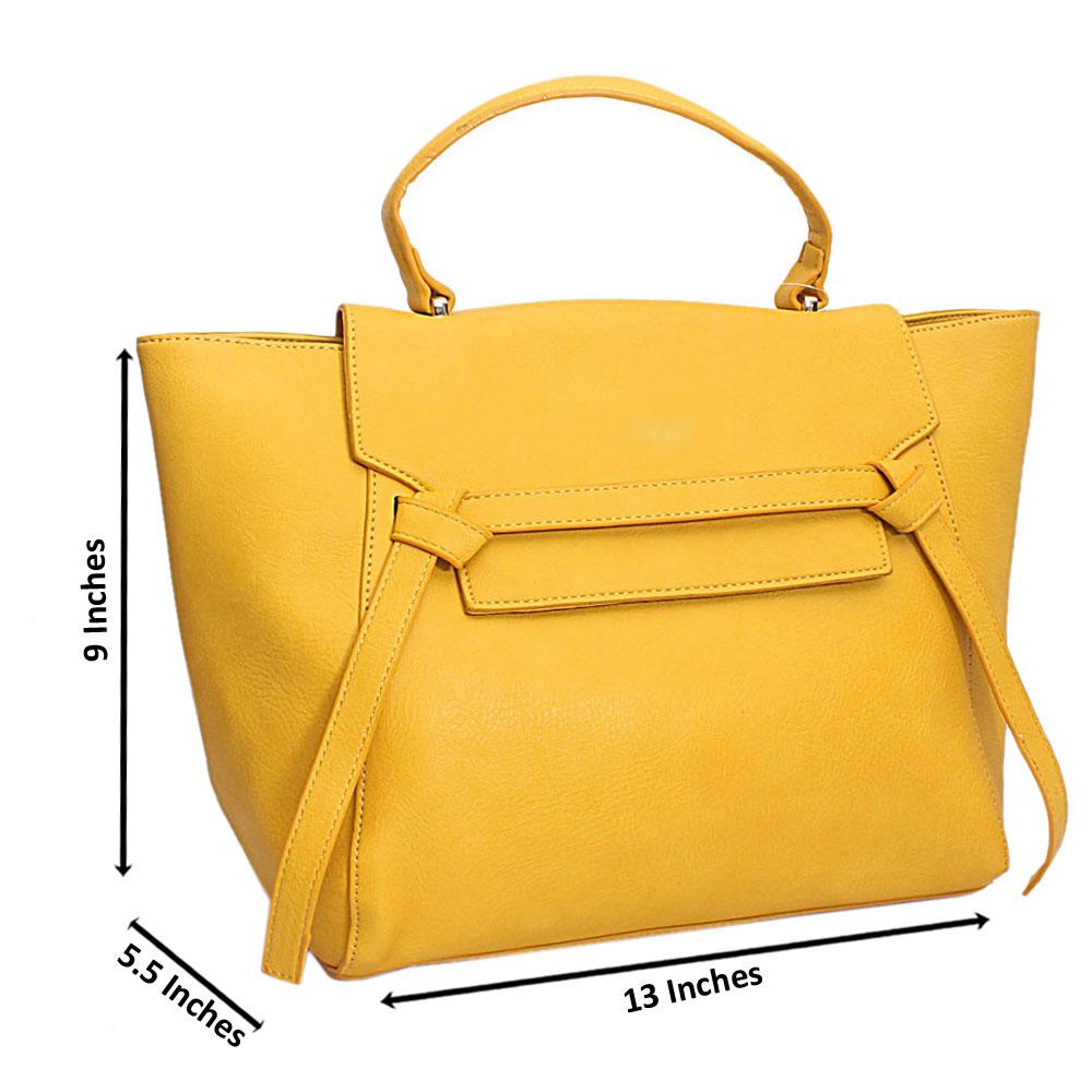 Yellow Leather Medium Belt Top Handle Handbag