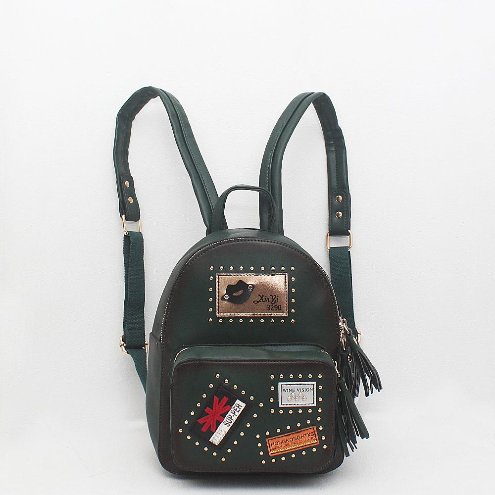 London Style Green Leather Backpack
