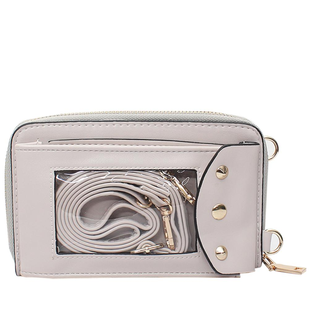 Beige Leather Ladies Wallet Wt Strap