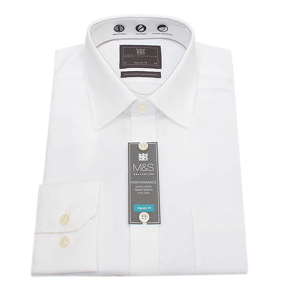 M&S Collection White Regular Fit Men L/Sleeve Shirt-Sz 15
