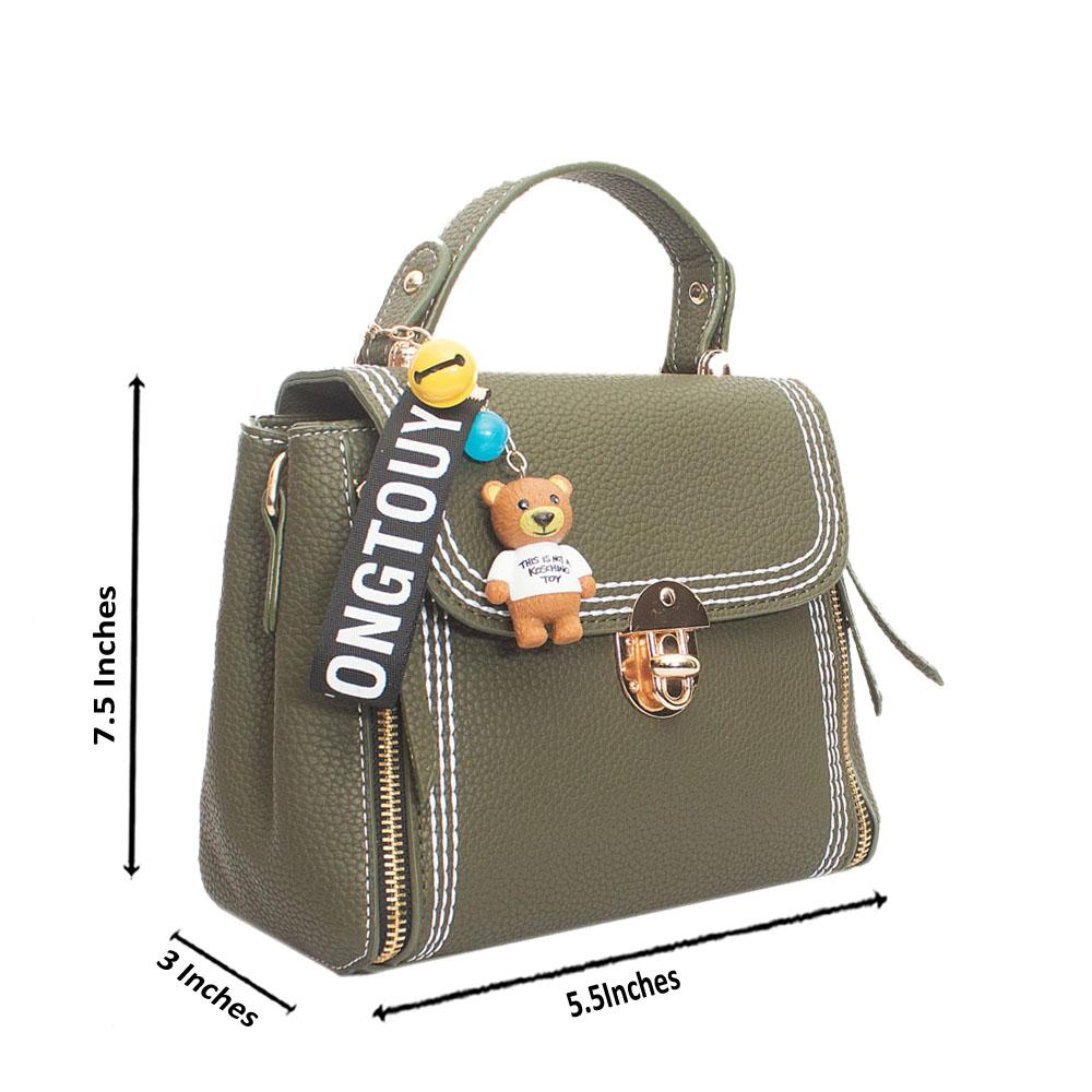 Green Leather Tongtouy Charm Mini Handle Bag