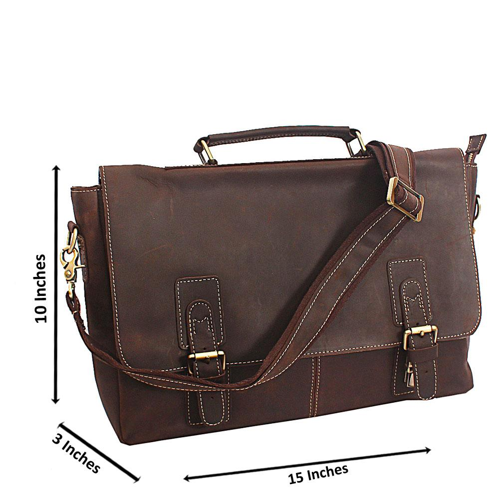 Coffee Destressed Leather Flip Messenger Bag