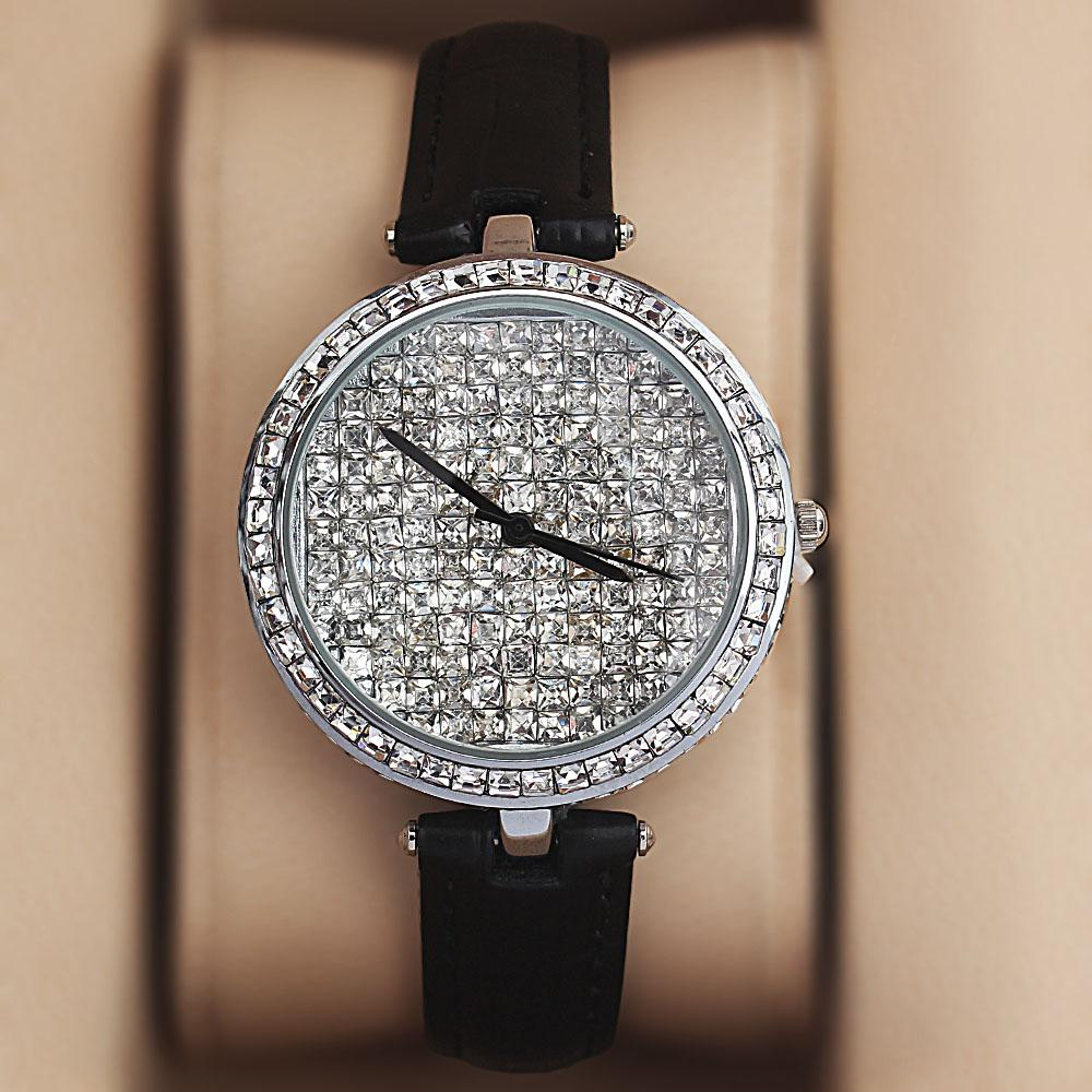 Silver Black Crystal Ice Studded Leather Ladies Watch