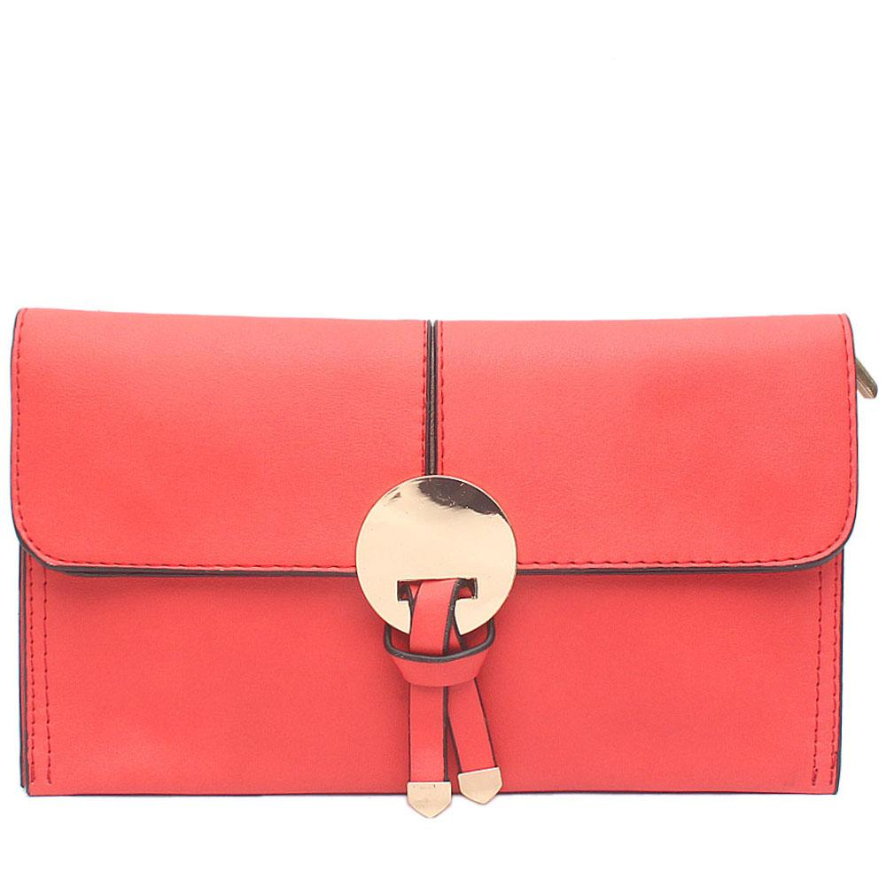 Coral Leather Flat Clutch