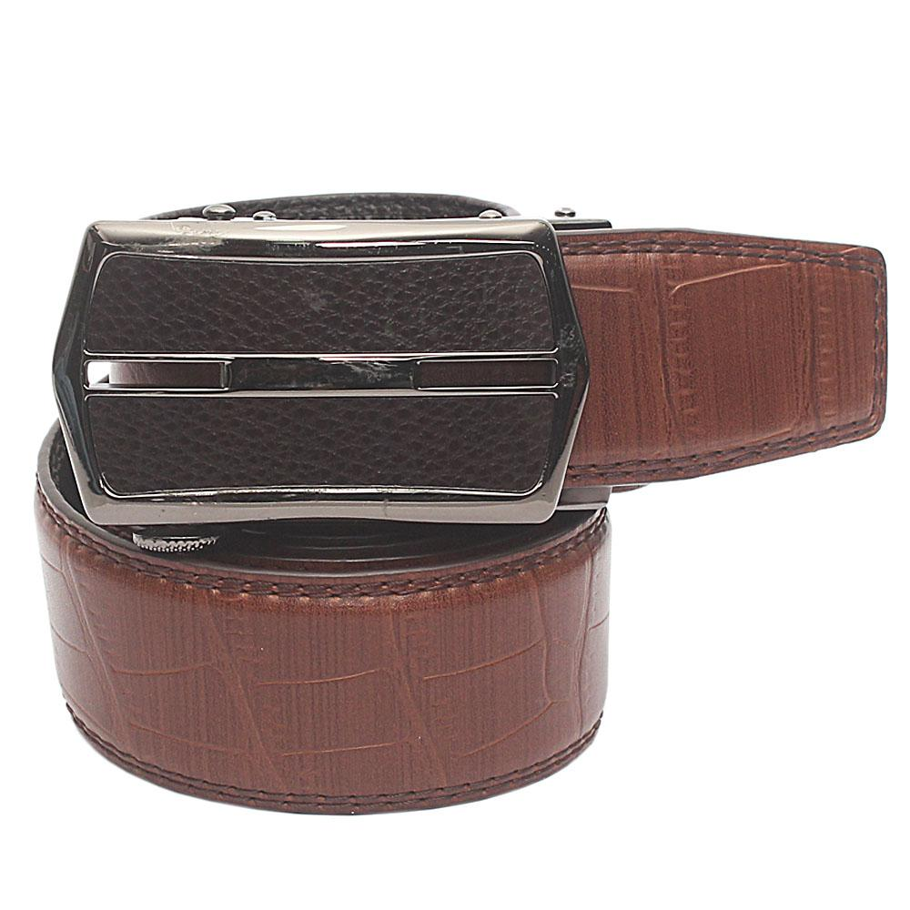 Brown Exotic Croc Leather Belt  L 48 Inches