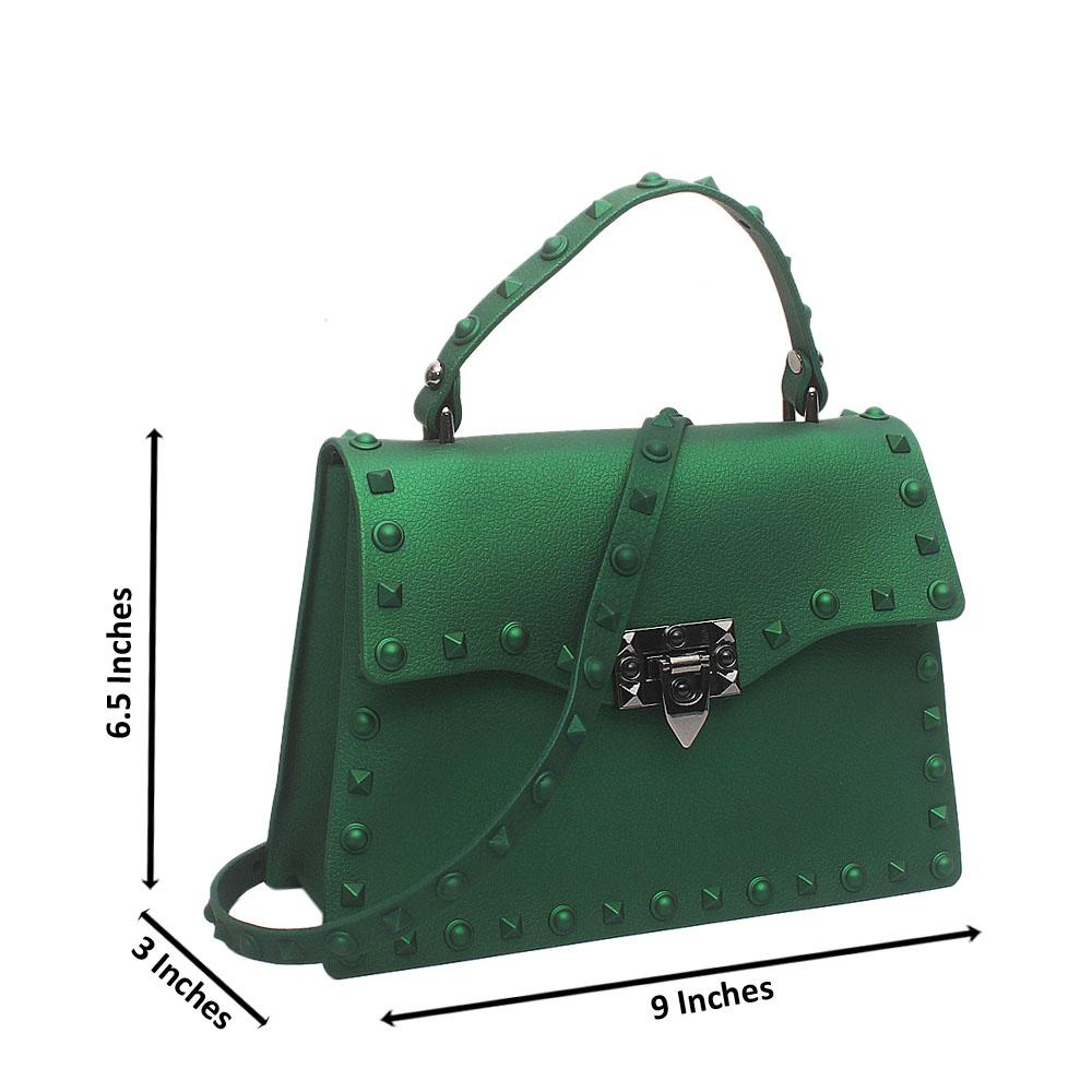 Green Rockstud Spike Small Single-Handle Rubber Bag