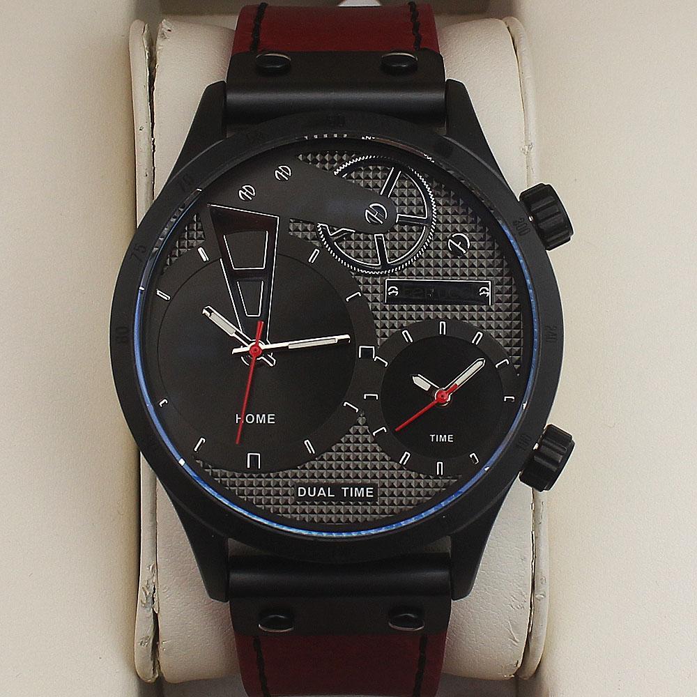 Ferrucci MultiFunction Fashion Watch wt Wine Leather Strap