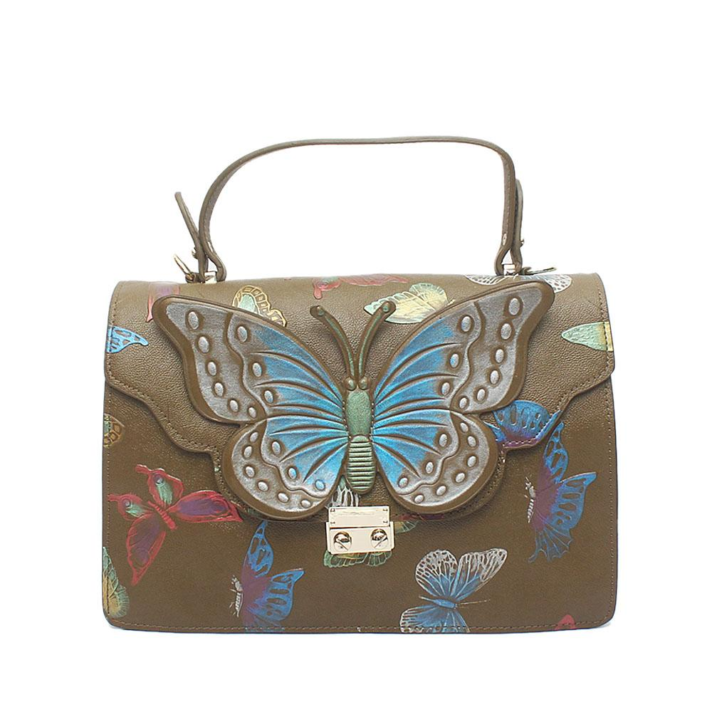 Butterfly Green Leather Handle Bag