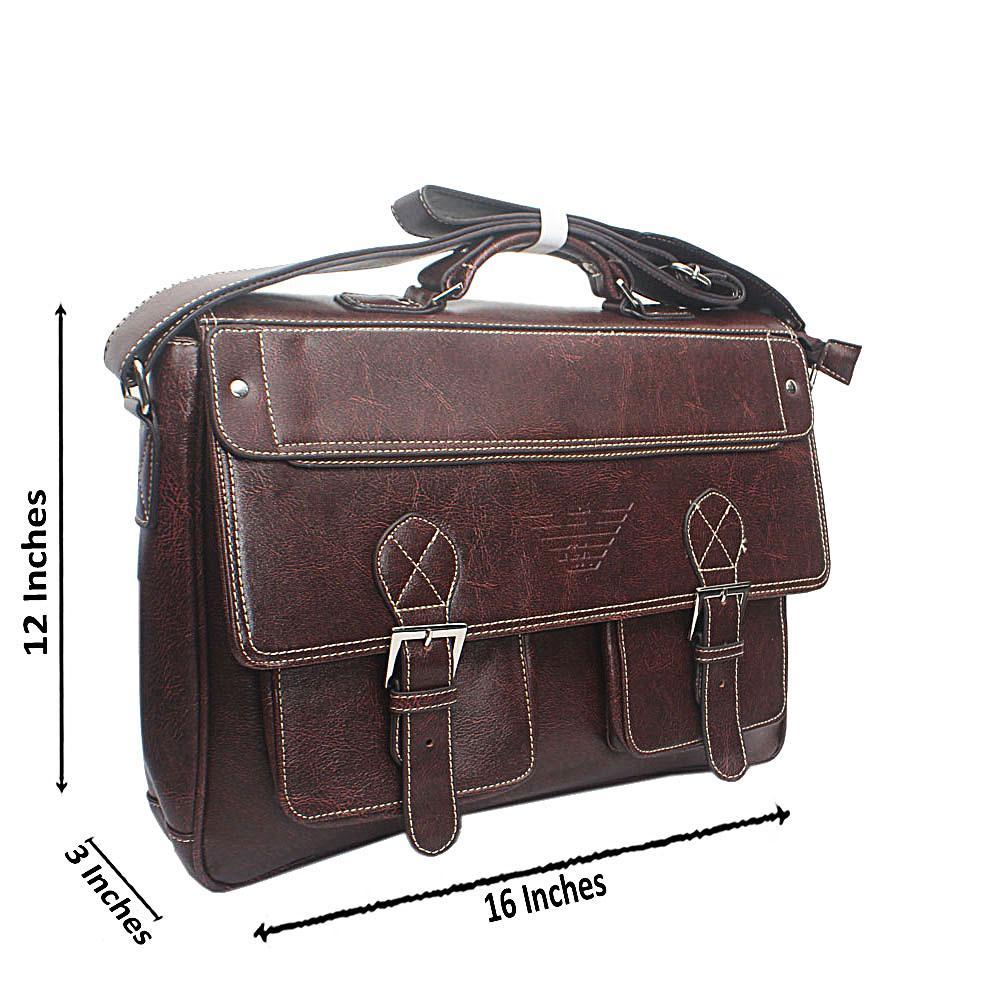 Coffee Brown Leather Messenger Bag