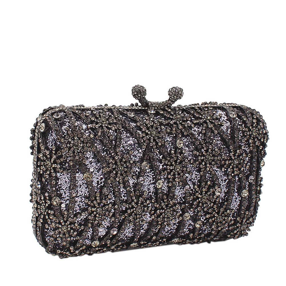 Black Medal Drapes Diamante Crystals Clutch Purse