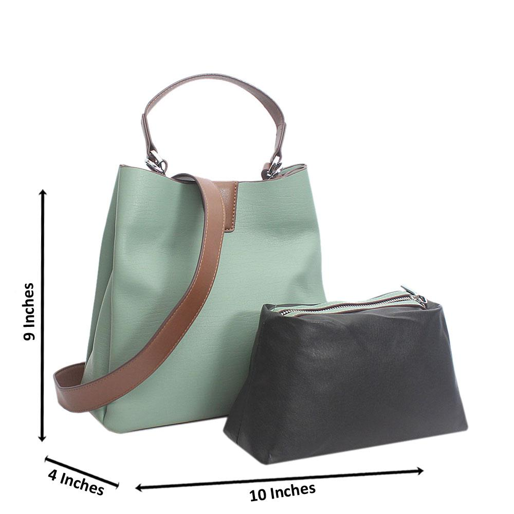 Green Bucket Style Small Tuscany Leather Top Handle Handbag