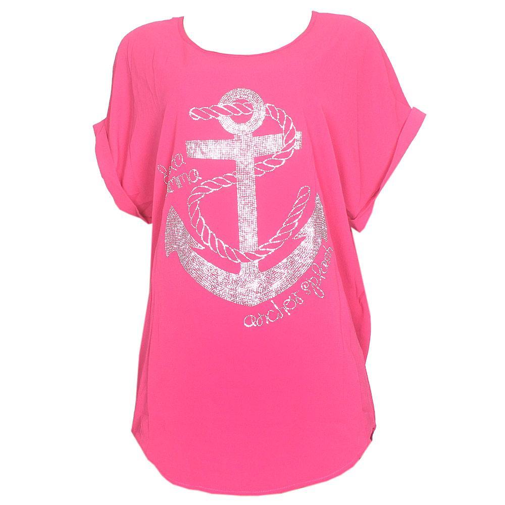Hongda Pink Anchor Studded Chiffon Ladies Top