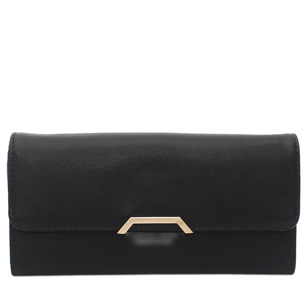 Black Leather Ladies Wallet