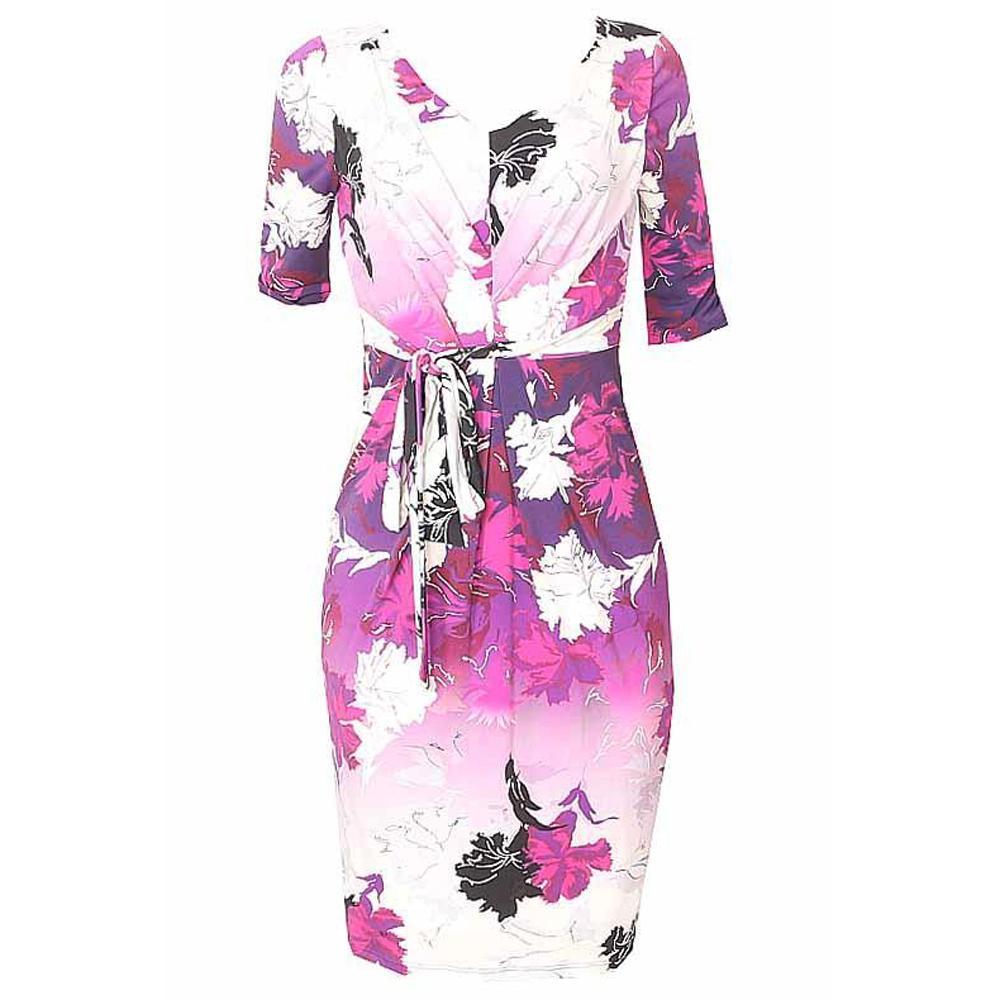 Twiggy M & S Woman Purple Mix S/Sleeve Mini Dress-Uk 8