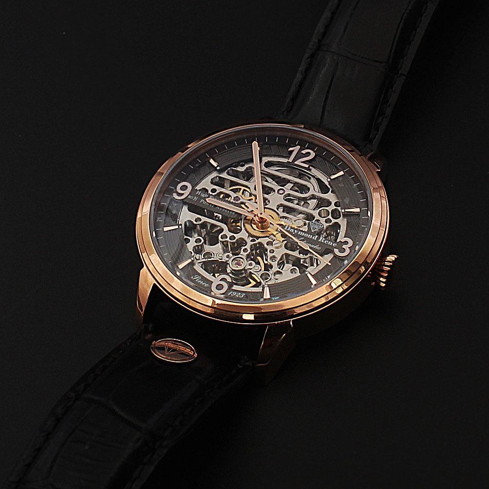 Daymond Rene Gold Black Leather 80H Power Automatic Skeletal Watch