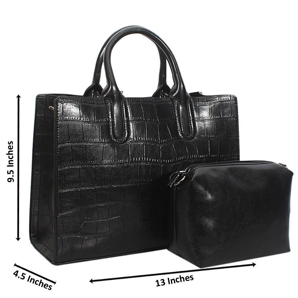 Black Alice Croc Leather Tote Handbag