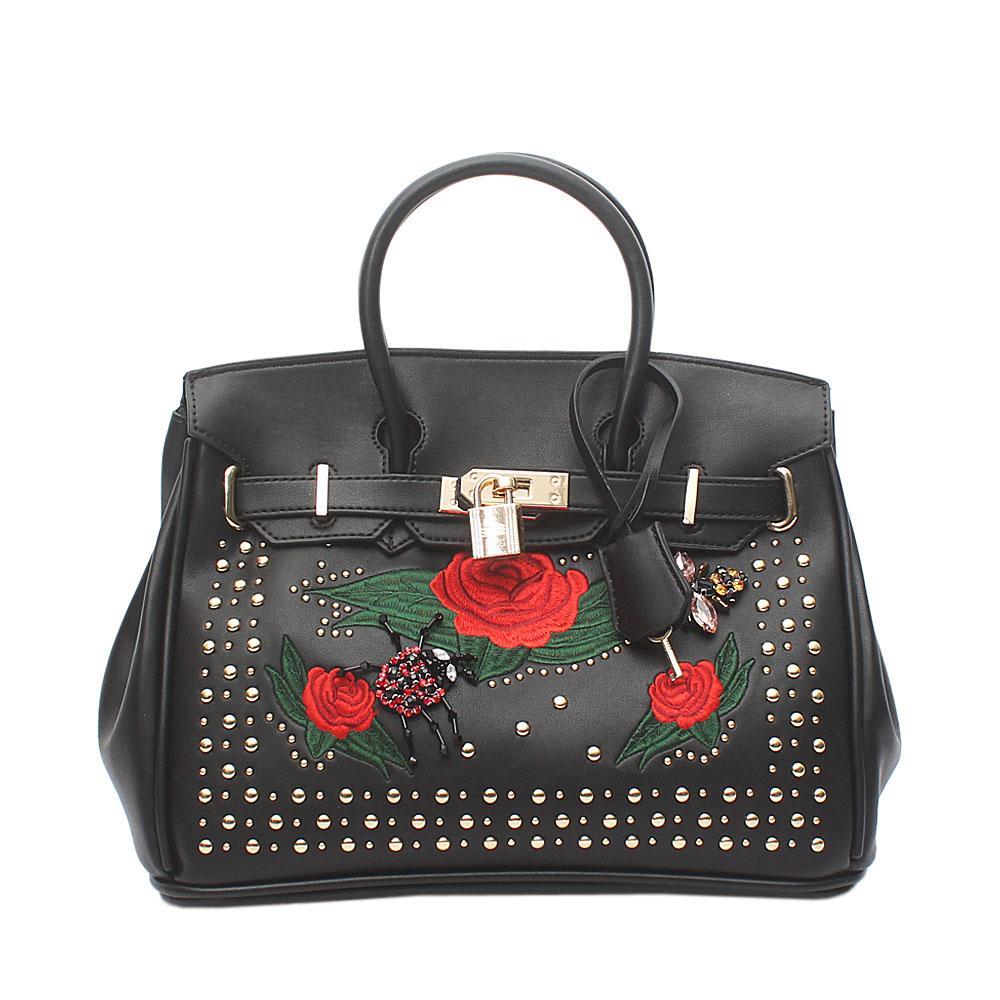 Black Studded Leather Medium Tote Bag