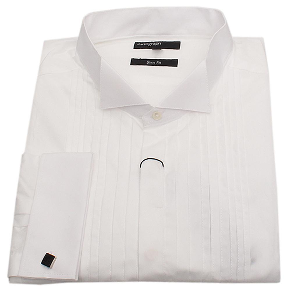 Autograph White Long Sleeve Men Cuff Shirt-Sz 16