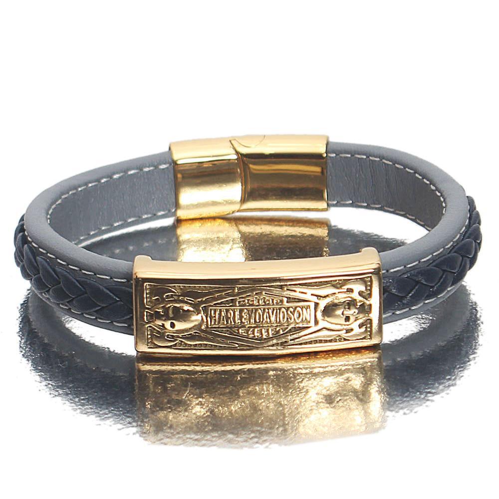 Gold Engraved Sky Navy Leather Bracelet