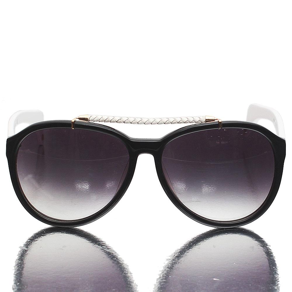 White Black Aviator Dark Lens Sunglasses