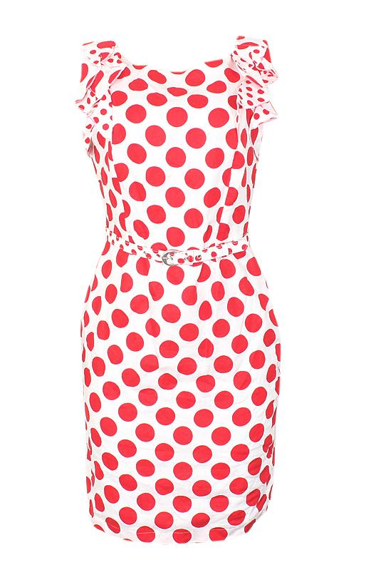 Peruna White Red Poker Ladies Sleeveless Dress Wt Belt