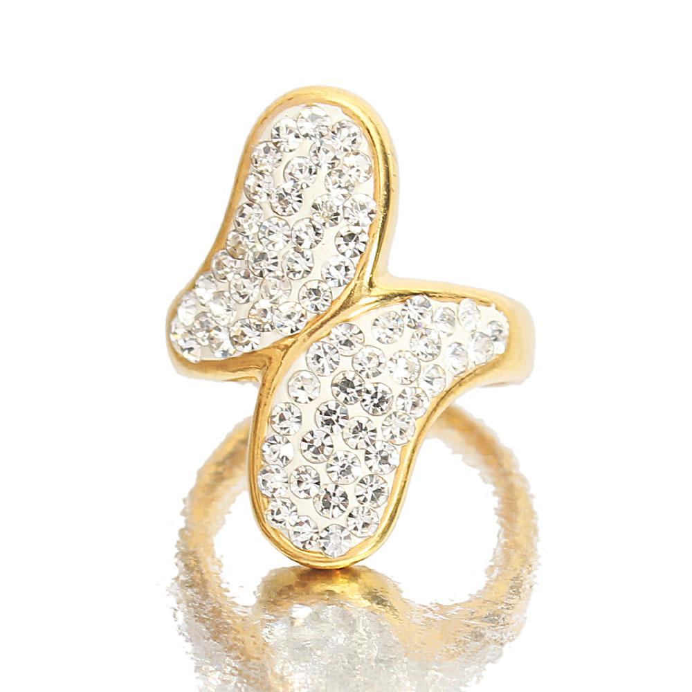 Gold Steel Ice Studded Ladies Ring