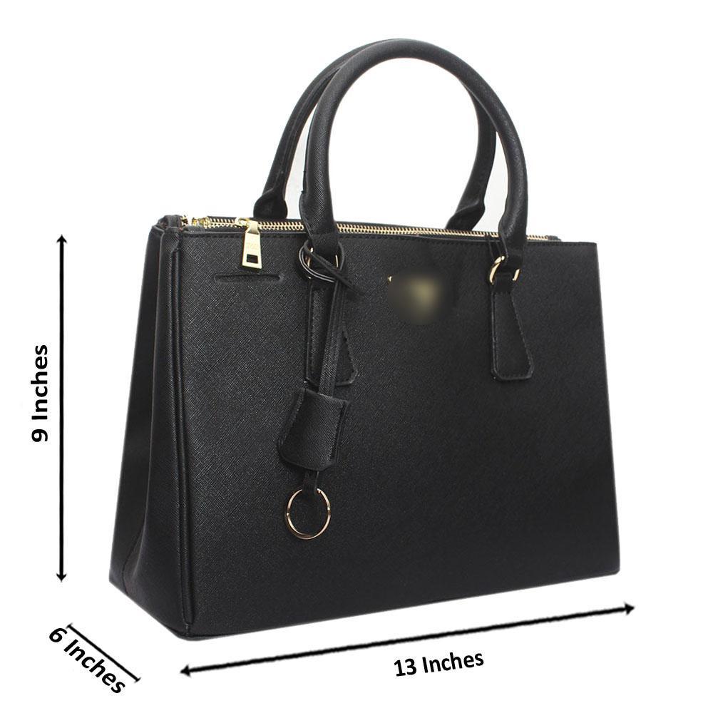 Black Leather Medium Galleria Handbag