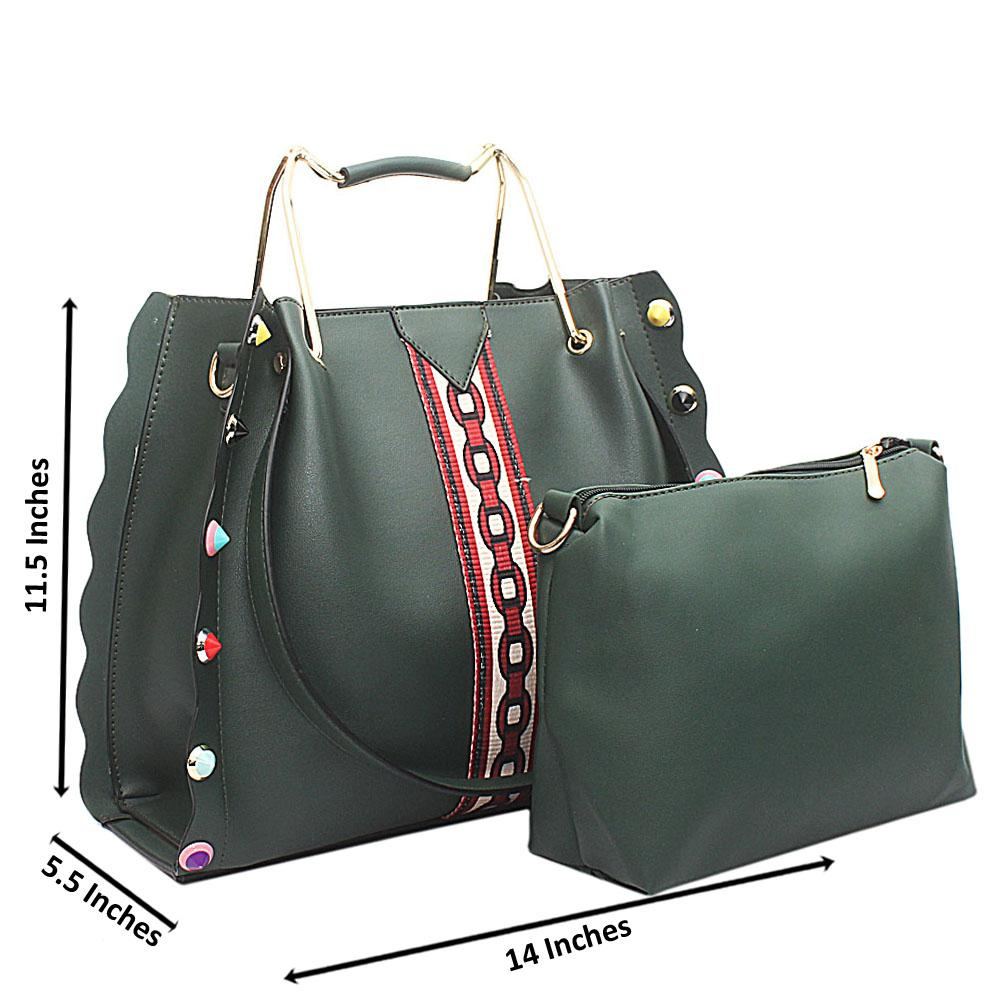 Green Leather Handbag Wt purse