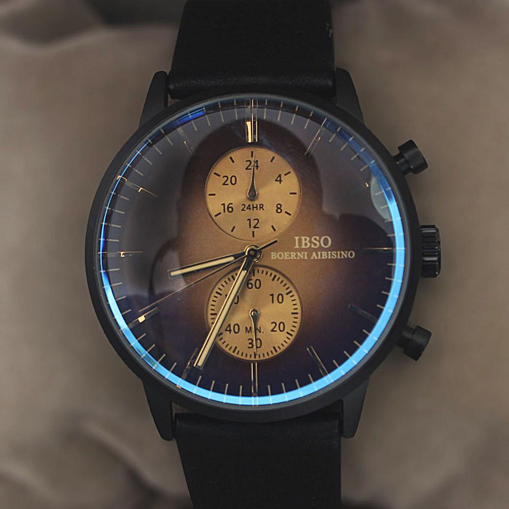 Classic Icon Black Leather Flat Watch