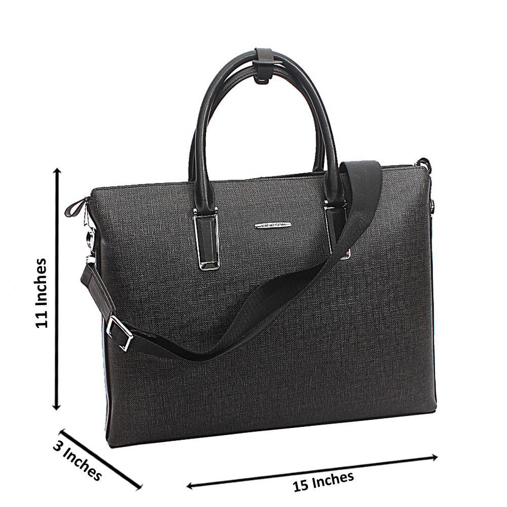 Gray Tweed Cowhide Leather Briefcase wt Side Zip