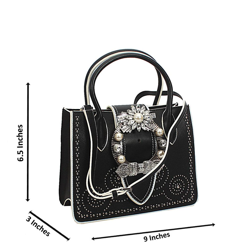 Black White Crytals Mini Handbag