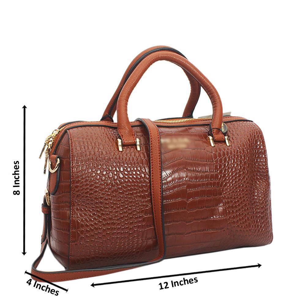 Brown Esplanade Croc Cowhide Leather Tote Handbag