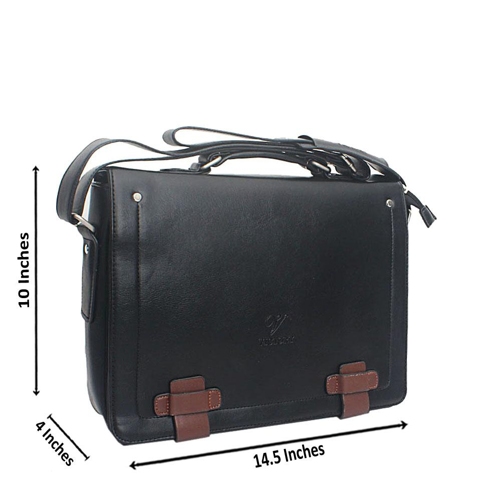 Black Casania Flip Leather Messenger Bag