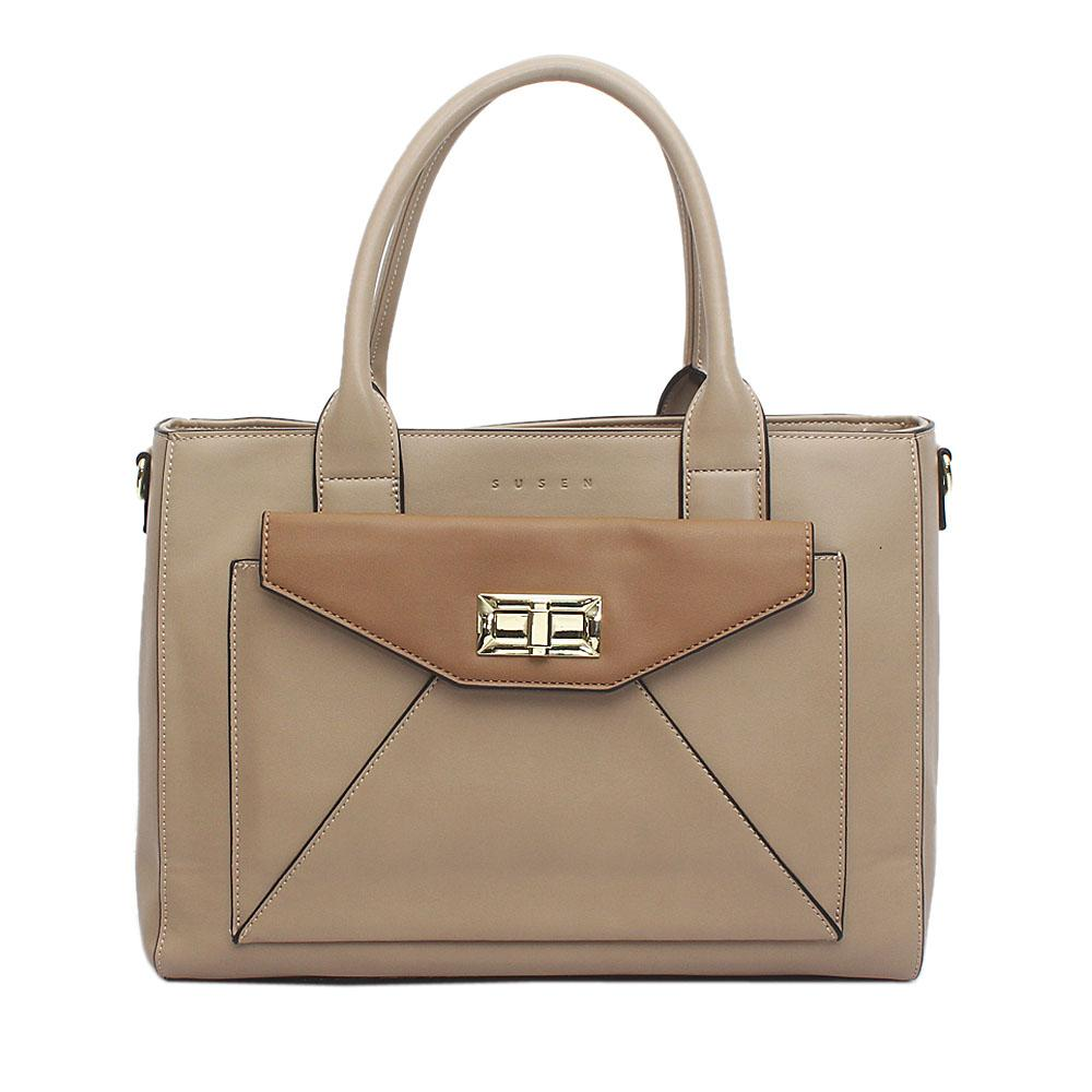 Susen Khaki Leather Handbag