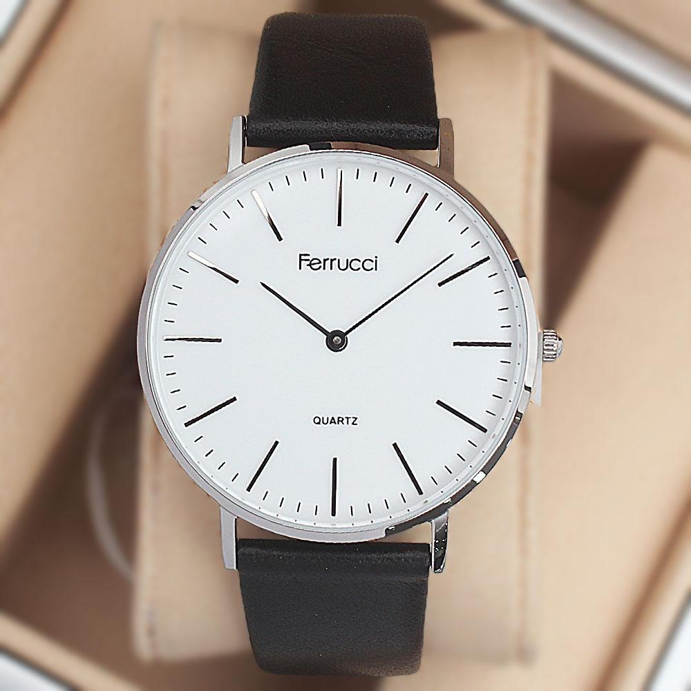 Ferrucci Critus Flat Fashion Watch wt Black Leather Strap