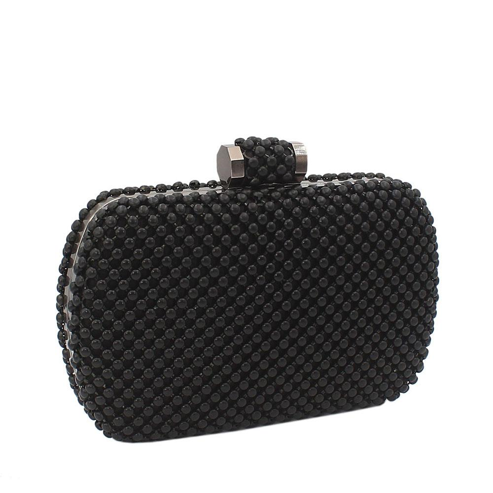 Black Titanium Mesh-Balls Clutch Purse