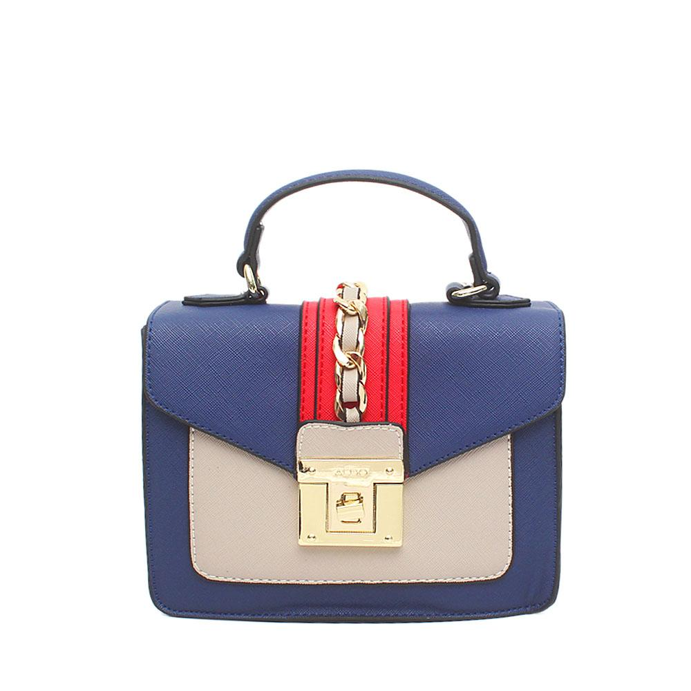 Blue Red Grey Leather Mini Handle Bag