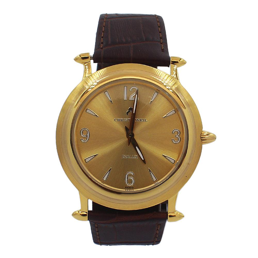 Brown Gold Santiago Leather Flat Watch