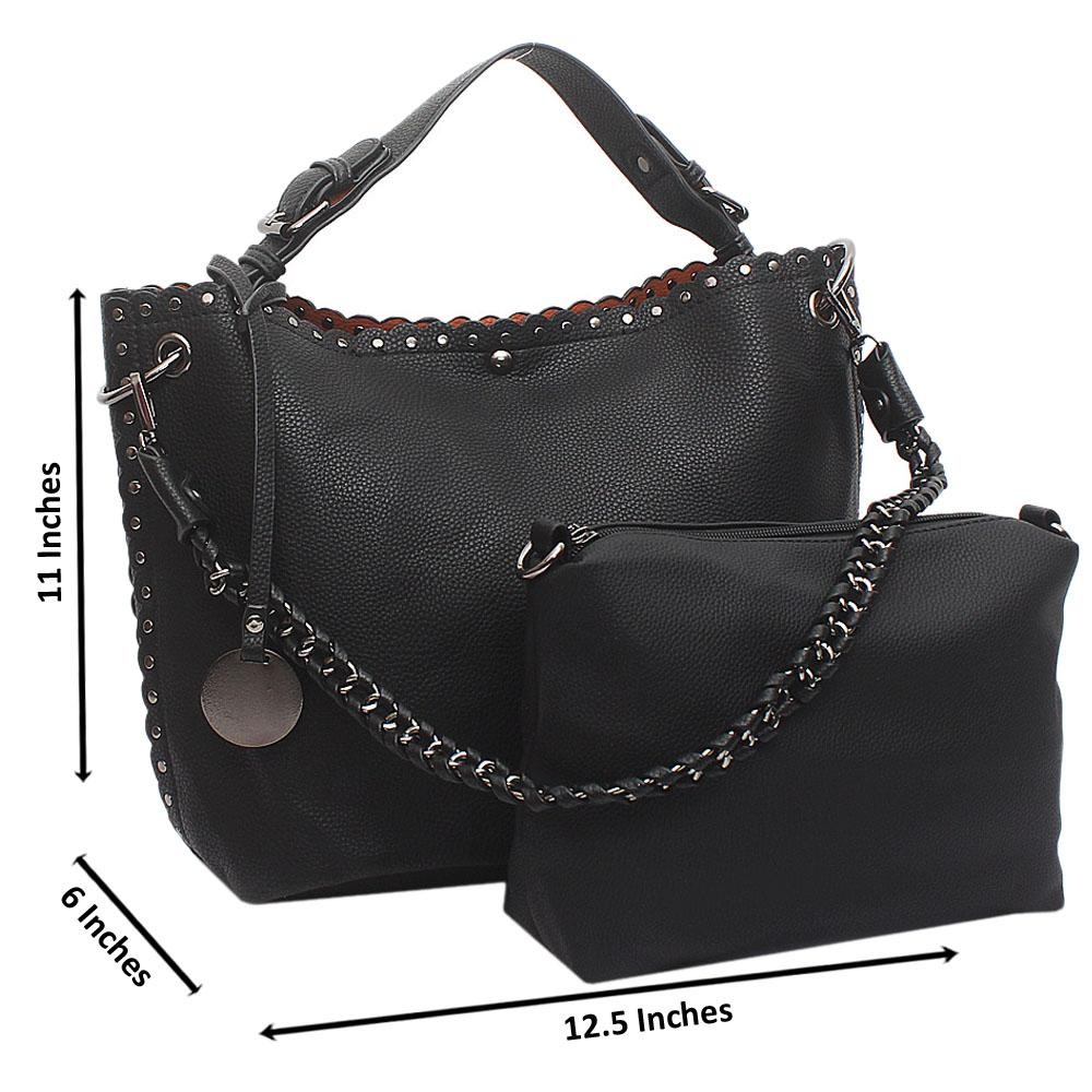 Black Artsy Medium Leather Handbag